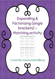 Expanding / Factorising (Single brackets) - matching activ