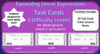 Expanding Linear Expressions (30 Task Cards – 3 different levels!)
