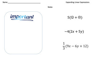 Expanding Linear Expressions (Google Form & Interactive Video Lesson!)