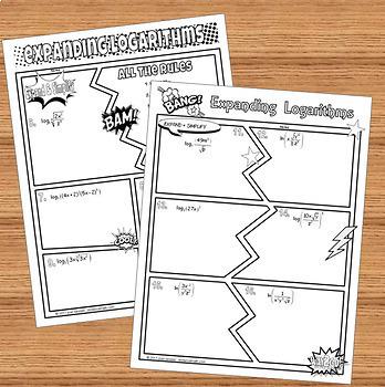 Expanding Logarithms Comic Book Doodle Notes