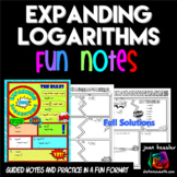 Expanding Logarithms Comic Book FUN Notes