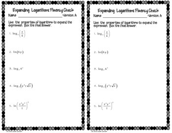 Expanding  Logarithms Fluency Check : No Prep Fluent in Math
