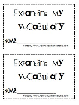 Expanding My Vocabulary Booklets for Daily Cafe!!