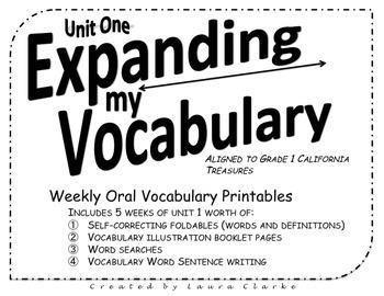 Expanding My Vocabulary Treasures First Grade Oral Vocabulary Printables Unit 1