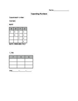 Expanding Numbers (Place Value) Worksheet