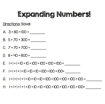 Expanding Numbers Worksheet and Exit Ticket