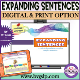 Expanding Sentences Speech Therapy Teletherapy NO PREP Elaboration Practice