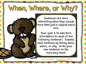 Expanding Sentences - 3 Actitivies - #2