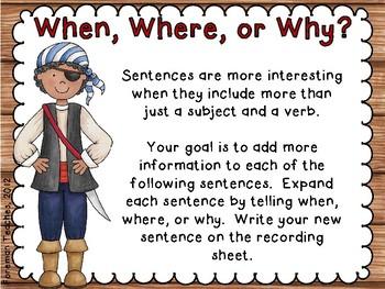 Expanding Sentences -  3 Activities