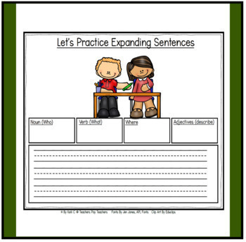 Parts of Speech:  Expanding Sentences during Back To School for K-2   FREEBIE
