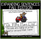 Expanding Sentences By Adding Adjectives Worksheets for Fall