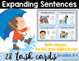 Expanding Sentences Scoot Task Cards L.K.1.F (Nouns, Verbs