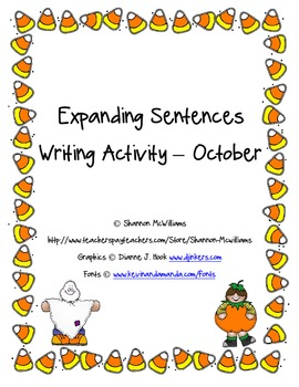 Expanding Sentences Writing Activity - October