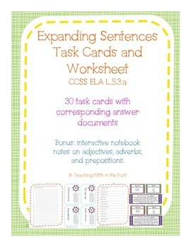 Task Cards: Expanding Sentences with Adjectives, Adverbs, and Prepositions