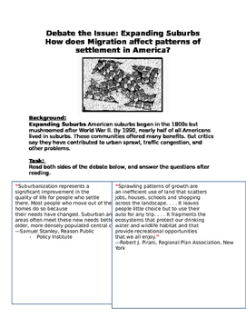 Expanding Suburbs How does Migration affect patterns of settlement in America?