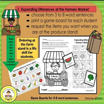 Expanding Utterances in Speech Therapy- Farmers Market Theme