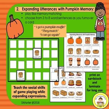 #speddeals Expanding Utterances in Speech Therapy- Pumpkin Theme