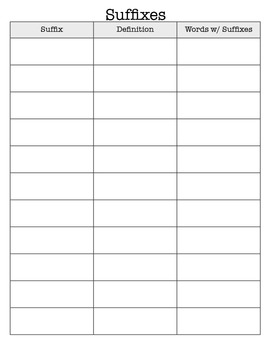 Vocabulary/Prefix/Suffix Recording Sheet for Interactive Reading Notebook