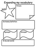 Expanding Vocabulary Worksheet Printable  Antonym/Synonym