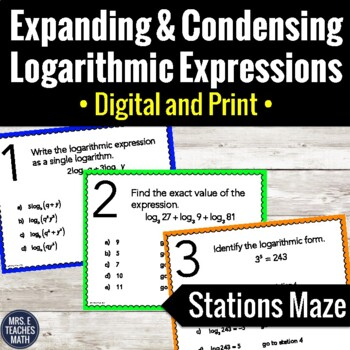 Expanding and Condensing Logarithmic Expressions Stations Maze Activity