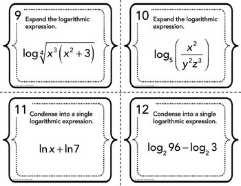 Expanding and Condensing Logarithmic Expressions Task Cards