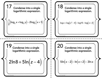 Logarithmic Expressions Expand and Condense Task Cards