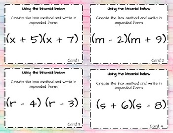Expanding and Factoring Binomials (Box Method) Task Cards