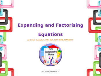 Expanding and Factorising Expressions Foldable Editable