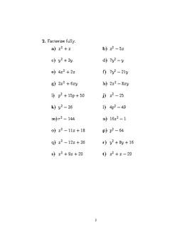 Expanding and factorising quadratics