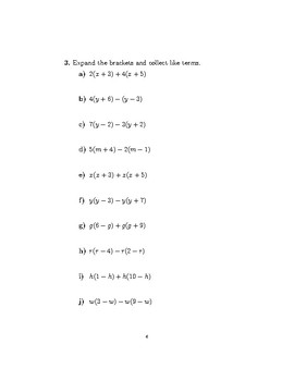 Expanding brackets and collecting like terms worksheet no 2 (with solutions)
