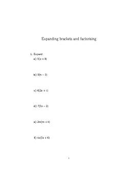 Expanding brackets and factorising 2