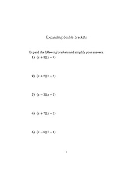 Expanding double brackets worksheet no 2 (with solutions)
