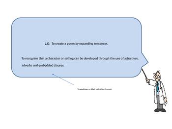 Expanding sentence poems with descriptive vocabulary