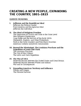 Expanding the Country 1801-1823 Text Based Questions
