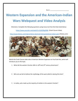 Expanionism and the American-Indian Wars- Webquest and Video Analysis with Key