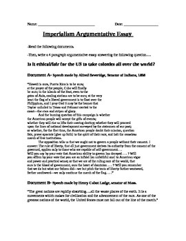 Expansion Overseas: Imperialism Argumentative Essay