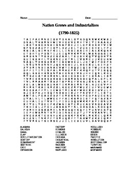 Expansion and First Industrial Revolution Word Search