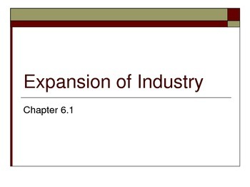 Expansion of Industry