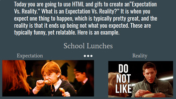 Expectations Vs. Reality HTML Remix Project Using Mozilla Thimble