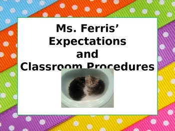 Expectations for First Day of School PowerPoint