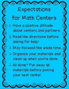 Expectations for Math Centers