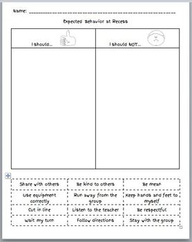 FREE Expected Behavior in the Classroom, Lunch, Recess Cut and Paste