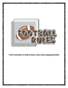 Expected Football Recess Behavior Rules Contract Social Story
