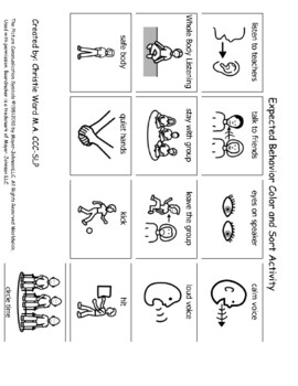 Expected Group Behaviors Color and Sort Activity