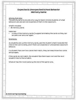 Expected & Unexpected School Behaviors - Memory Game