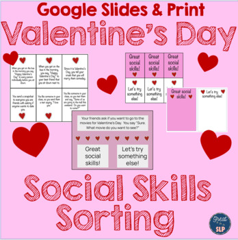 Social Skills Scenarios Sorting Activity- Valentine's Day