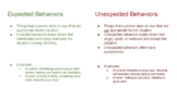 Expected and Unexpected Behaviors Visual for Adolescents and Young Adults
