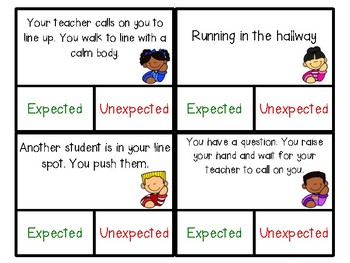 Expected vs. Unexpected Behavior Clip Cards
