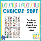 Expected vs. Unexpected Choices Sort - Zones of Regulation #SPEDSPRINGSFORWARD