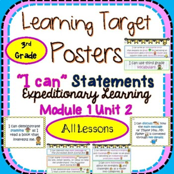Engage NY Expeditionary Learning 3rd Gr Module 1 Unit 2 Learning Target Posters